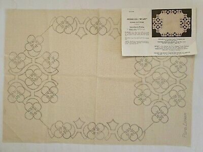 Vintage Myart Unworked Embroidery Floral Cut Out - Pure Linen