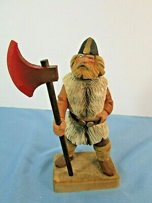 """Henning Hand Carving Wood Viking With Axe 8"""" Norway"""