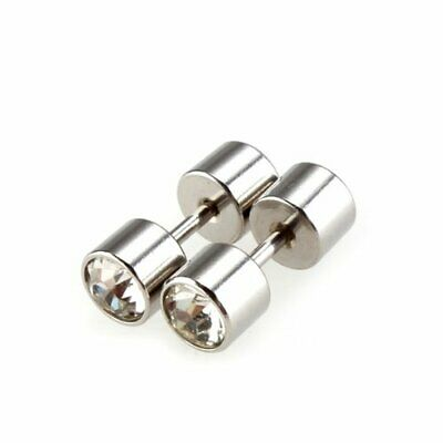 """10X( Stainless Steel Rhinestone Crystal Round Studs Earrings 0.7x0.3"""" D6A5)"""
