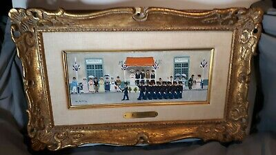 Vintage Andre Renoux Oil on Canvas Bastille Day Painting Framed French fine art