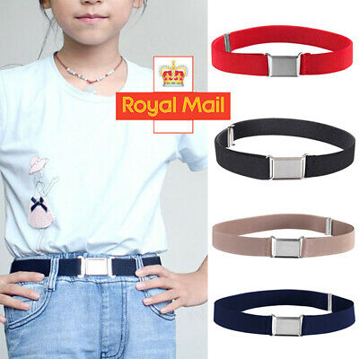 Boys/Kids Adjustable Elastic Child Silver Alloy Buckle Snake Belts Toddler UK