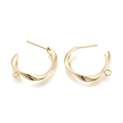 10pcs Brass Half Circle Earring Posts Twisted Real Gold Plated Loop Studs 34mm