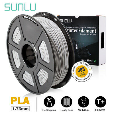 SUNLU PLA Gray Printer Supplies 1.75mm 1kg Spool Grey Consumables New No Bubble