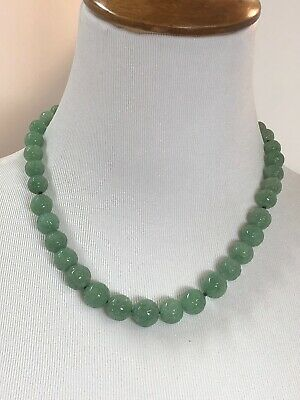 Vintage ~Nephrite Jade Bead Necklace Hand Carved Chinese Estate Lot