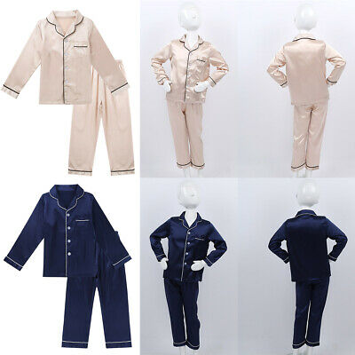 Kids Boys Girls Unisex Faux Silk Pajamas Long Sleeve Button Sleepwear Tops Pans