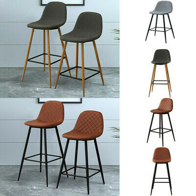 2X Fabric/PU Bar Stools Pub Breakfast Chairs High Legs With Footrest Dining Room