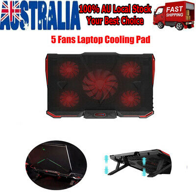 15-17 Inch Gaming Laptop Cooling Stand Powerful Pad with 5 Fan Laptop Cooler AU
