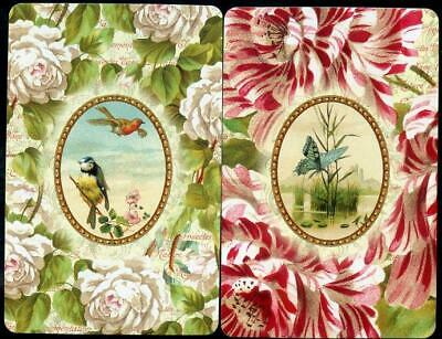 Vintage Swap Cards Flowers And Birds  Pair  Punch Studio In Mint Condition
