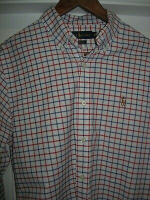 Polo Ralph Lauren Mens L/S Stretch Oxford M (Slim Fit) Shirt - Red & Blue Check