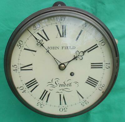 "John Field London Georgian Mahogany 8 Day Verge Fusee Convex 10"" Dial Clock"