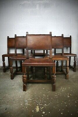 Set Of 6 Antique French Oak & Leather Dining Chairs
