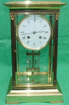 L'epee Corrinthian Pillar Four Glass Crystal Regulator 8 Day Table Clock