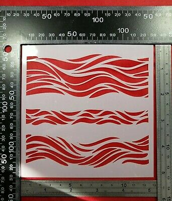 Sea Wave Ripple Scales Hills Stencil Scrapbooking Cardmaking Airbrush Paint #3