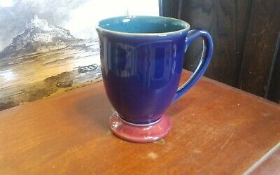 "Denby Harlequin footed coffee mug 4.25"" cobalt blue green burgundy VERY NICE"