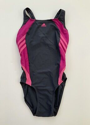 Girls Adidas Grey Pink Swimsuit Swimming Costume Age 13 - 14 Years