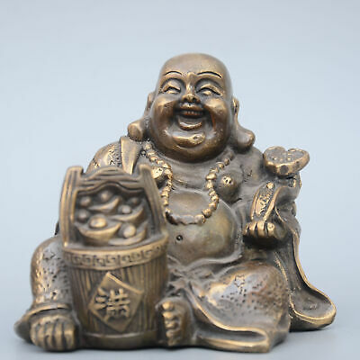 Collect China Old Bronze Hand-Carved Buddhism Buddha & Wealth Auspicious Statue