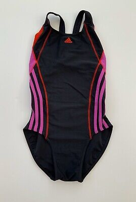 Girls Adidas Black Pink Red Swimsuit Swimming Costume Age 13 - 14 Years