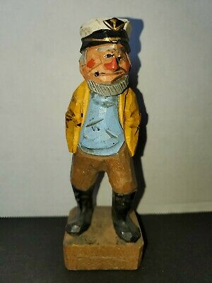 "One Nautical Folk art wood carved painted Sea Man approx 6"" tall"