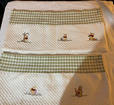 Two(2) Kidsline Winnie The Pooh Valances Quilted Embroidered