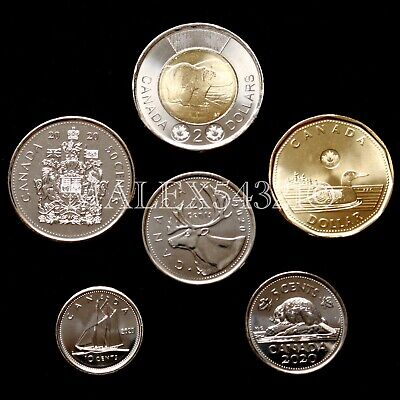 🇨🇦​Canada 2020 Complete Coin Set 5 Cents To 2 Dollars Uncirculated (6 Coins)