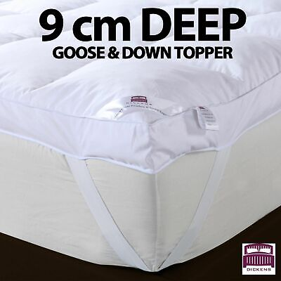 Goose Feather Down Mattress Topper Enhancer Luxury 9Cm Deep Bed Protector Hotel
