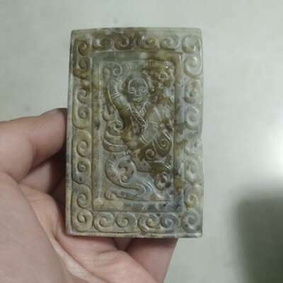 77MM Chinese Jade Double Engraving Pretty Belle Beautiful Woman Pendant Statue美女