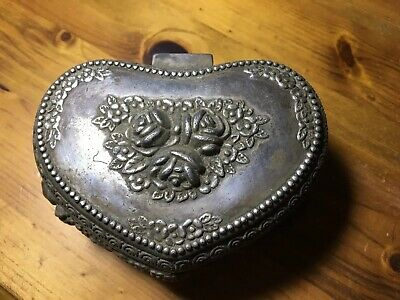Antique Vintage Pewter Heart Shaped Chinese Trinket Box Rare And Collectable