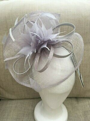 NEW Debut Grey Pointed Feather Swoop Fascinator Wedding Party Evening Races