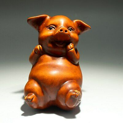 Collection Handwork China Antique Boxwood Carve Happy Little Pig Delicate Statue
