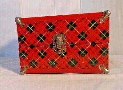 Vintage Doll Trunk  Suitcase Metal Red Green Plaid