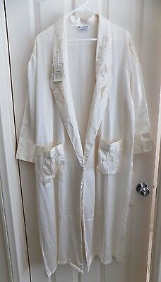 NEW Womens Ivory White 100% Silk Robe Gown Embroidery Long