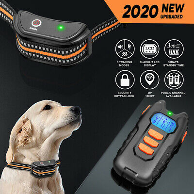 Dog Shock Collar Training Bark Electric Remote Rechargeable For Small Large Dogs