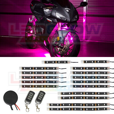 LEDGlow 16pc Advanced Pink LED Flexible Motorcycle Accent Neon Light Kit