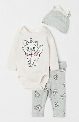 Disney Baby Girl The Aristocats Marie Bodysuit Leggings and Hat 6-9 Months BNWT
