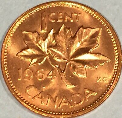 1964 Canada 1 cent DIE BREAK MS-GEM-BU from the Mint Roll, RED Uncirculated.