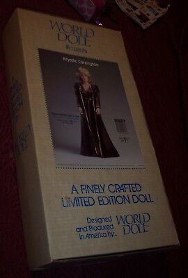 "World Doll Presents Dynasty Tv Show Krystal Carrington 19"" Doll Nib Linda Evans"