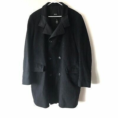 Hugo Boss Men's US 42R Black Wool/Cashmere Button Down Double Breasted Coat