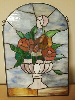 "Vintage 16"" x 11"" Flowers Tiffany Style Stained Glass Window Hanging Easter"