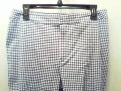 Women's size L Blue & White checked Crinkle Casual Comfort Pants by Apropos ju18