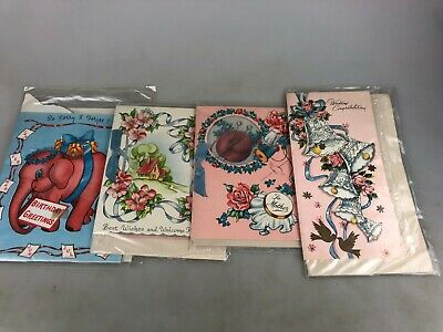 Vintage Greeting Cards - Lovely Lot Of 4 Different Never Used In Sealed Pack