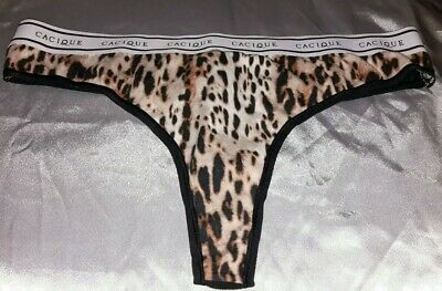 Vintage Cacique Thong Panties Wide Signature Waistband Animal Print 14/16 40-42
