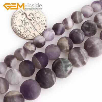 """Frosted  Dream Lace Purple Amethyst Natural Gems Loose Beads 15"""" 6mm 8mm 10mm"""