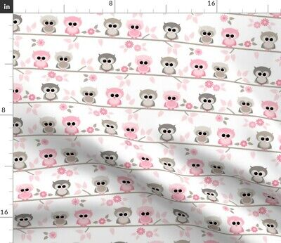 Baby Owls Striped Pink Gray Birds Woodland Fabric Printed by Spoonflower BTY