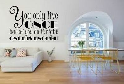 YOU ONLY LIVE ONCE YOLO WALL STICKER QUOTE BEDROOM HOME WALL ART DECAL X315