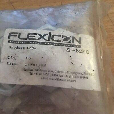 Flexicon S-M20 Straight Cable Conduit Fitting - Pack of 10