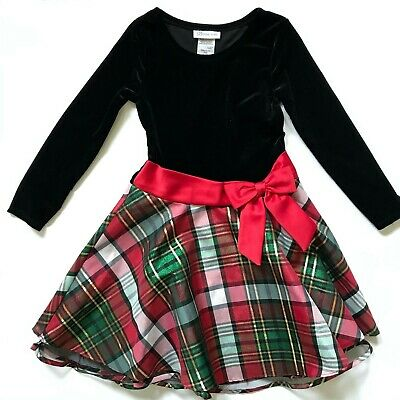 Bonnie Jean Dress Girls 6X Long Sleeve Black Velvet Red Plaid Holiday Christmas