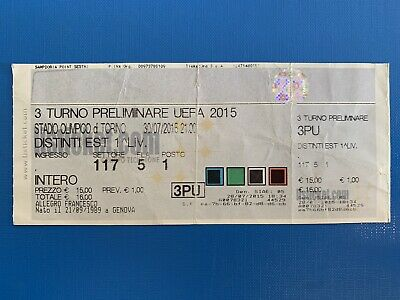 Biglietto Stadio Ticket Sampdoria-Vojvodina- Europa League 2015/'16