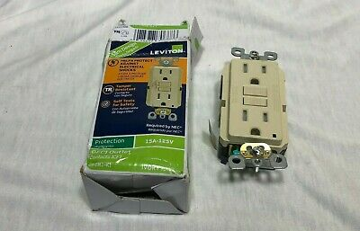 GFCI Outlet - Leviton  GFWT!-KW   15 Amp - 125V  Safety Outlet  Ivory