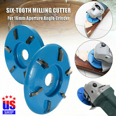 6 Teeth Plane Wood Carving Disc 16mm Aperture Angle Tool Cutter Equipment USA
