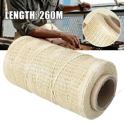 260M 1mm 150D Flat Waxed Thread Cord Sewing Craft For DIY Leather Tool Beige New